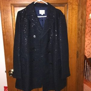 Navy blue sequin Loft button down jacket